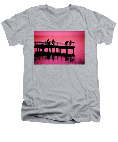 Men's V-Neck T-Shirt featuring the photograph Fishermen by Raymond Salani III