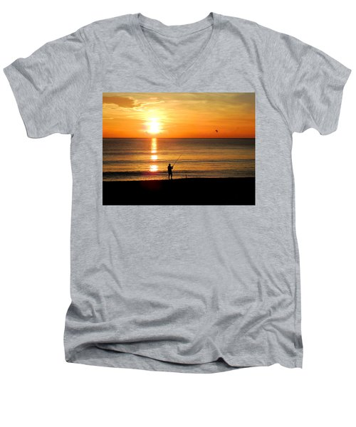 Fishing At Sunrise Men's V-Neck T-Shirt