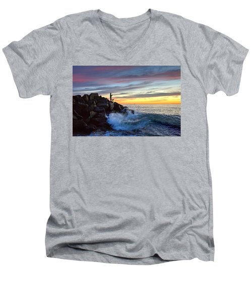 Fishing At Sunset Men's V-Neck T-Shirt