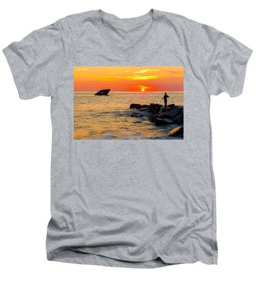 Fishing At Sunset Men's V-Neck T-Shirt