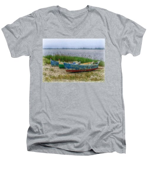 Men's V-Neck T-Shirt featuring the photograph Fishing Boats by Hanny Heim