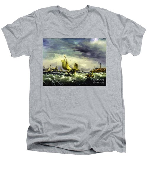 Men's V-Neck T-Shirt featuring the digital art Fishing In High Water by Lianne Schneider