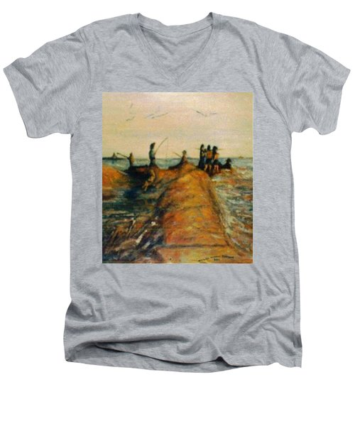 Fishing Near New Haven Men's V-Neck T-Shirt