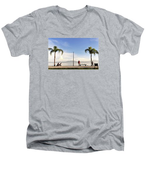 Men's V-Neck T-Shirt featuring the photograph Fishing On Lake Chapala by David Perry Lawrence