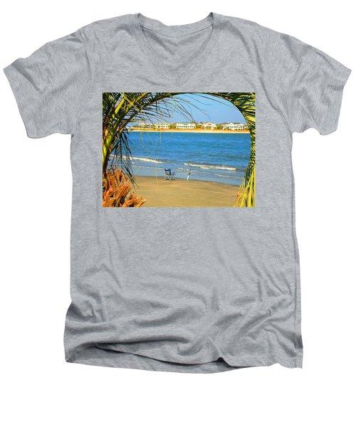 Fishing Paradise At The Beach By Jan Marvin Studios Men's V-Neck T-Shirt