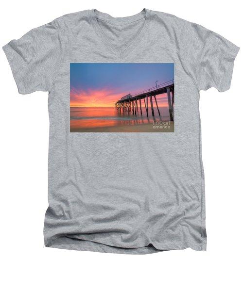 Fishing Pier Sunrise Men's V-Neck T-Shirt by Michael Ver Sprill