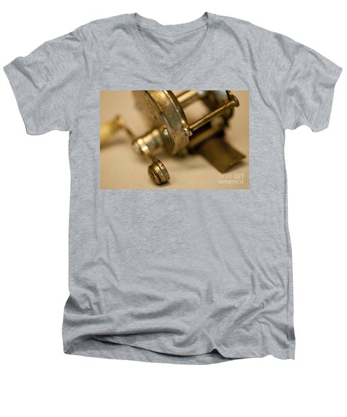 Men's V-Neck T-Shirt featuring the photograph Fishing Reel  by Wilma  Birdwell