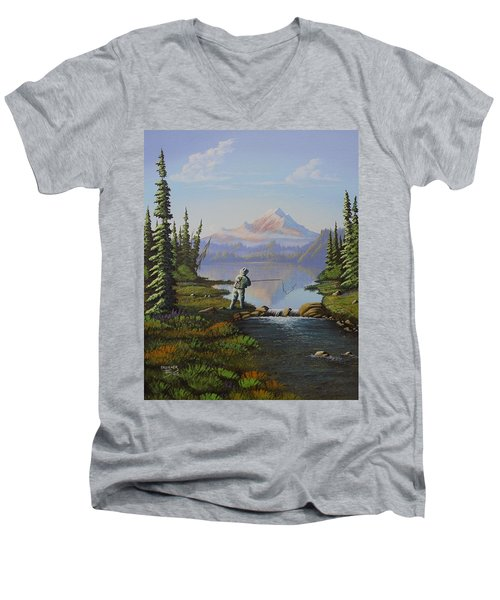 Fishing The High Lakes Men's V-Neck T-Shirt by Richard Faulkner
