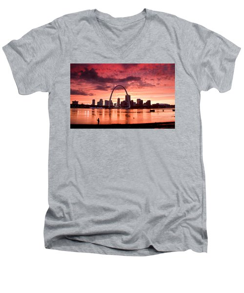 Fishing The Mississippi In St Louis Men's V-Neck T-Shirt
