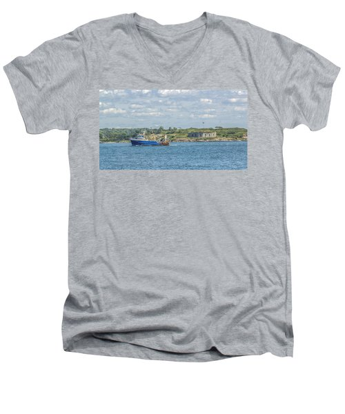 Men's V-Neck T-Shirt featuring the photograph Fishing Trawler Coming Into Port by Jane Luxton