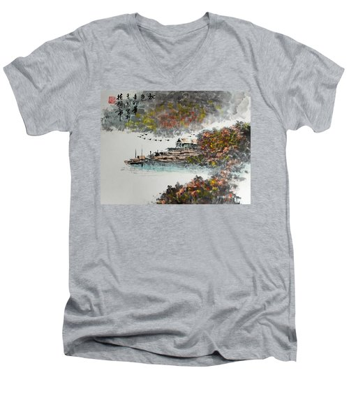 Men's V-Neck T-Shirt featuring the photograph Fishing Village In Autumn by Yufeng Wang