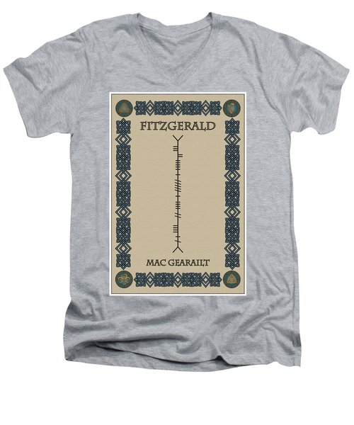 Fitzgerald Written In Ogham Men's V-Neck T-Shirt