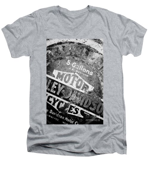 Men's V-Neck T-Shirt featuring the photograph Five Gallon Motorcycle Oil Can by Wilma  Birdwell
