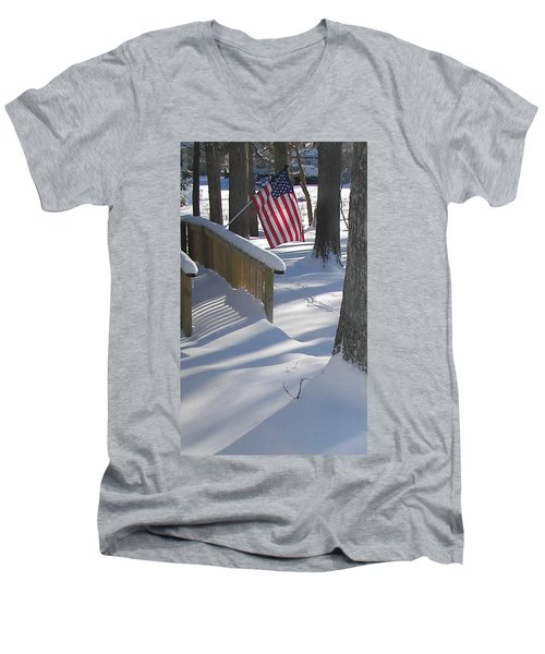 Flag Over Morning Snow Men's V-Neck T-Shirt