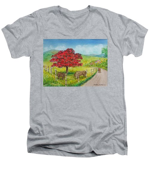 Flamboyan And Cows In Western Puerto Rico Men's V-Neck T-Shirt by Frank Hunter