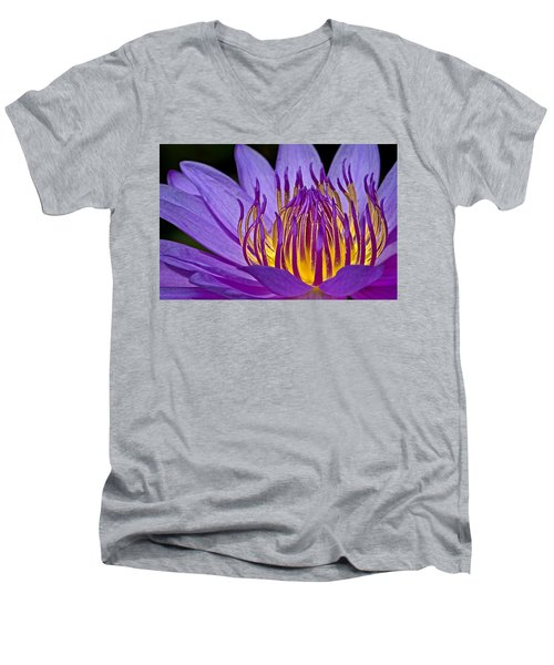 Flaming Heart Men's V-Neck T-Shirt by Susan Candelario