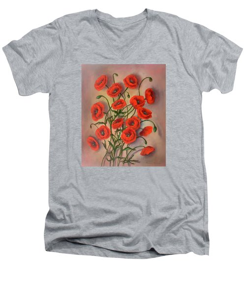 Flander's Poppies Men's V-Neck T-Shirt