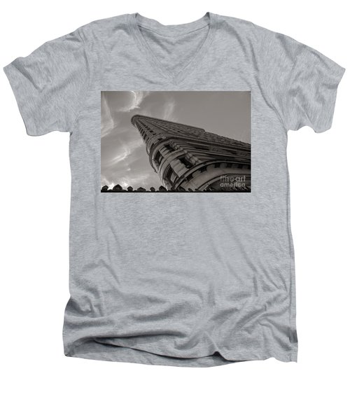 Men's V-Neck T-Shirt featuring the photograph Flat Iron Building by Angela DeFrias