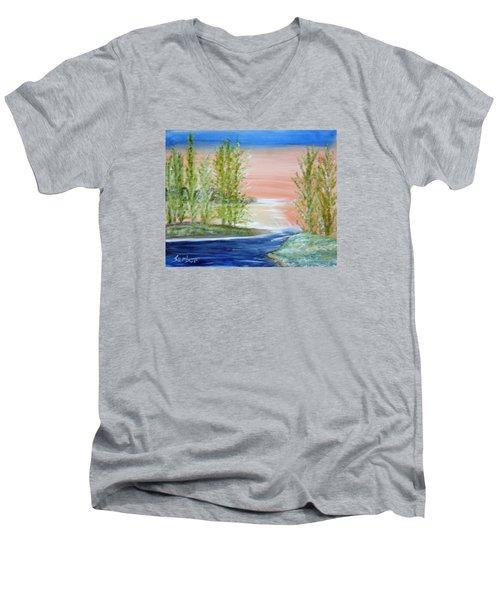 Flathead Lake Sunset Men's V-Neck T-Shirt
