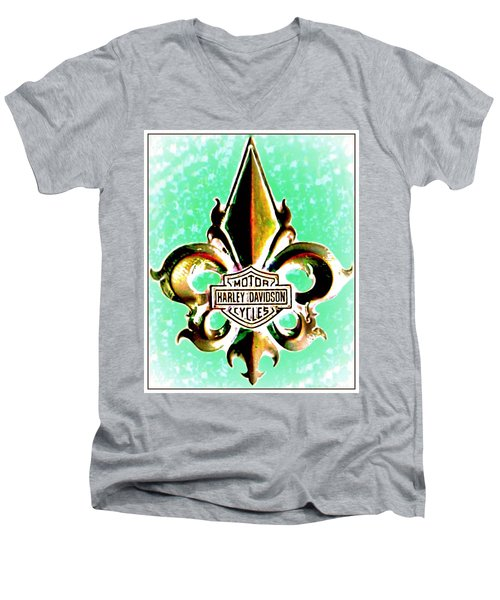 Fleurs De Lys And Harley Davidson Logo Bronze Green Men's V-Neck T-Shirt