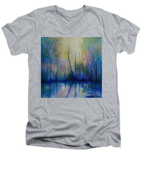 Flight In Morning Symphony Men's V-Neck T-Shirt by Alison Caltrider