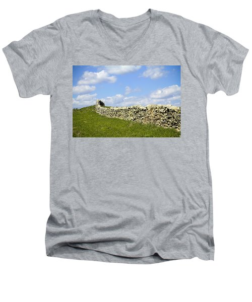Men's V-Neck T-Shirt featuring the photograph Flint Hills Rock Fence by Steven Bateson