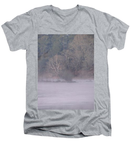 Men's V-Neck T-Shirt featuring the pyrography Flint River 10 by Kim Pate