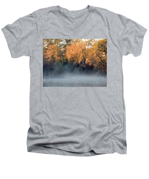 Men's V-Neck T-Shirt featuring the photograph Flint River 14 by Kim Pate