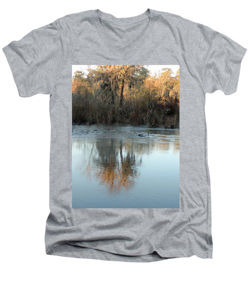 Men's V-Neck T-Shirt featuring the photograph Flint River 17 by Kim Pate