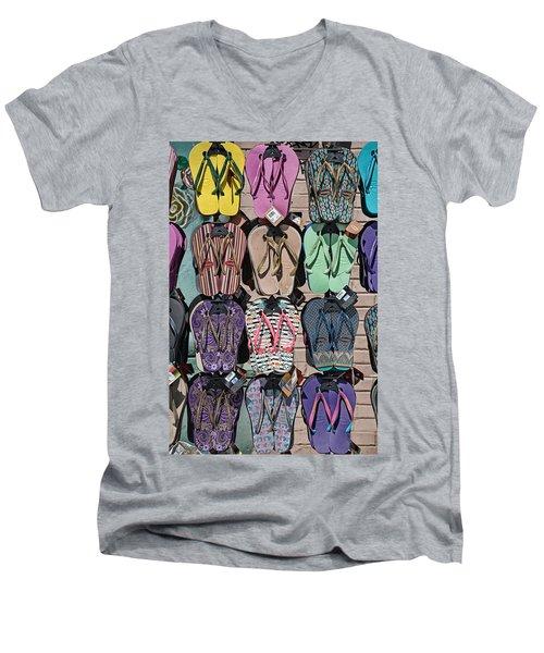 Flip Flops Men's V-Neck T-Shirt by Peter Tellone