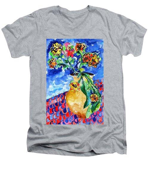 Flip Of Flowers Men's V-Neck T-Shirt by Esther Newman-Cohen