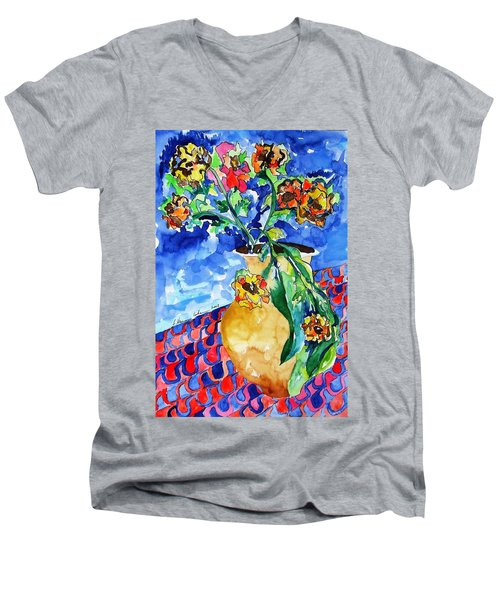 Flip Of Flowers Men's V-Neck T-Shirt