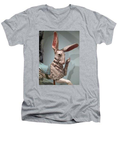 Men's V-Neck T-Shirt featuring the photograph Flirting Rabbit At Heritage Museum by Barbara McDevitt