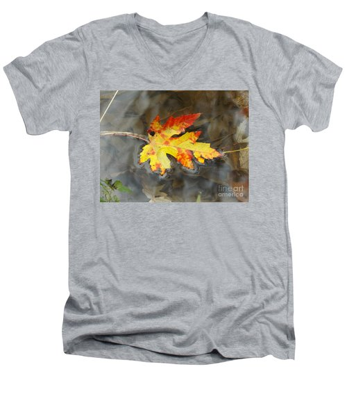 Floating Autumn Leaf Men's V-Neck T-Shirt