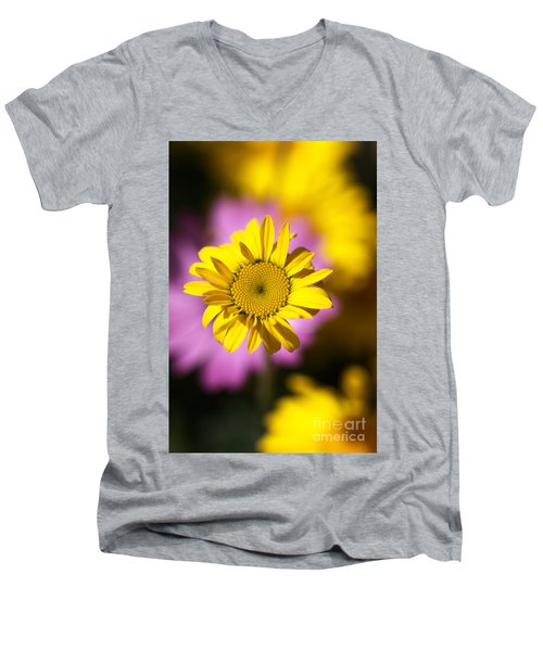 Men's V-Neck T-Shirt featuring the photograph Floating Daisy by Joy Watson
