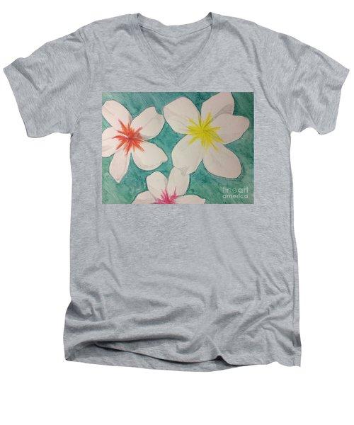 Floating Plumeria Men's V-Neck T-Shirt