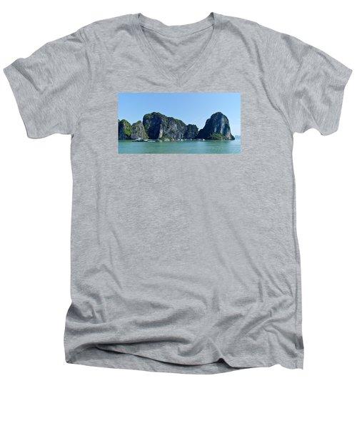 Floating Village Ha Long Bay Men's V-Neck T-Shirt by Scott Carruthers