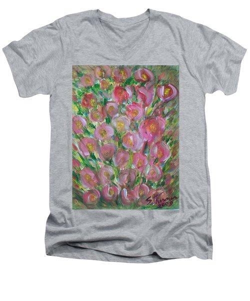 Floral Burst Men's V-Neck T-Shirt