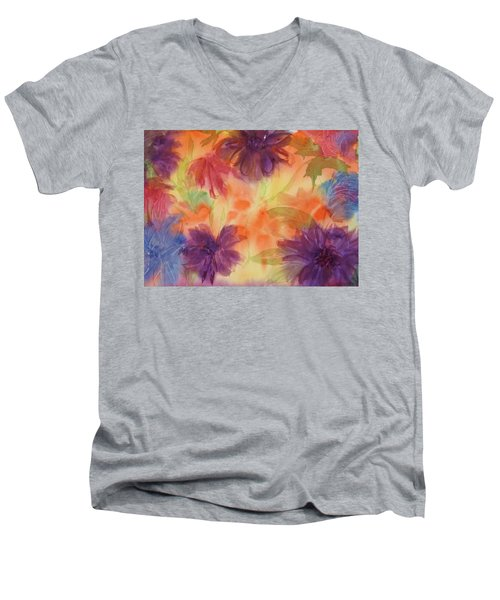 Floral Fantasy Men's V-Neck T-Shirt by Ellen Levinson