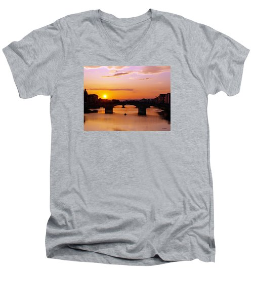 Men's V-Neck T-Shirt featuring the photograph Florence Sunset  by Haleh Mahbod