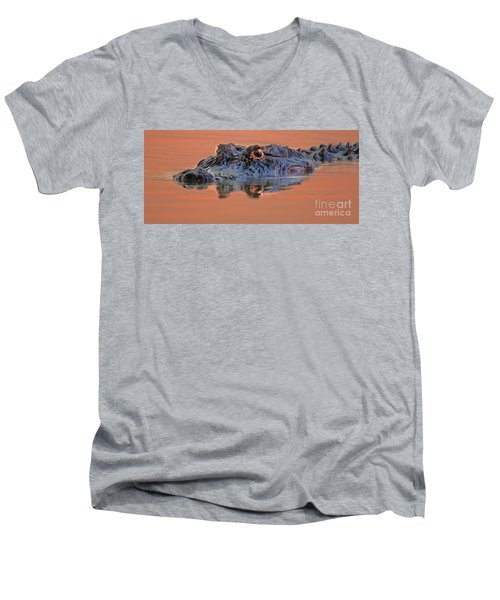 Men's V-Neck T-Shirt featuring the photograph Alligator For Florida  by Luana K Perez