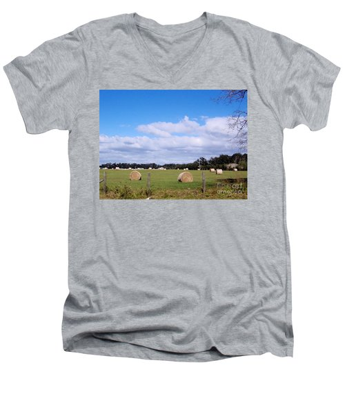 Men's V-Neck T-Shirt featuring the photograph Florida Hay Rolls by D Hackett