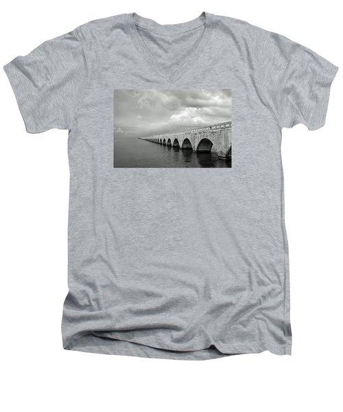 Florida Keys Seven Mile Bridge Black And White Men's V-Neck T-Shirt by Photographic Arts And Design Studio