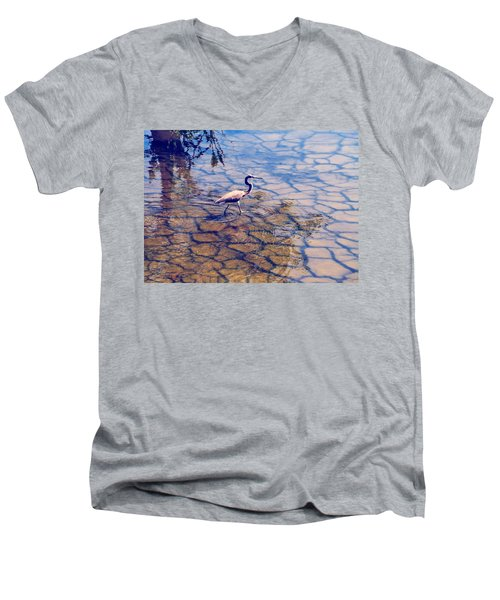 Men's V-Neck T-Shirt featuring the photograph Florida Wetlands Wading Heron by David Mckinney
