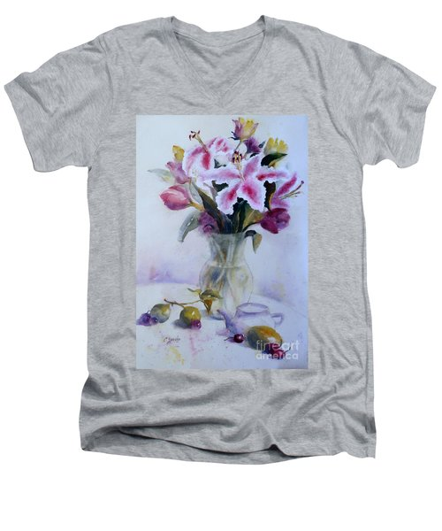 Flower Bouquet With Teapot And Fruit Men's V-Neck T-Shirt