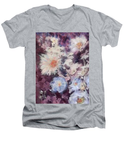 Men's V-Neck T-Shirt featuring the painting Flower  Burst by Richard James Digance