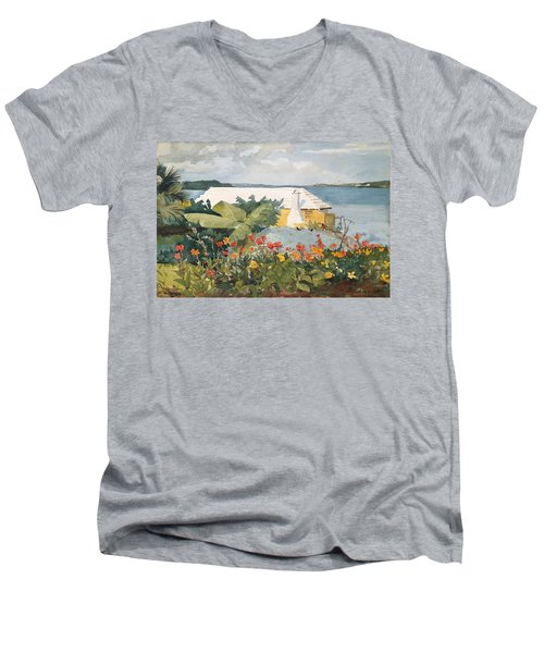 Flower Garden And Bungalow Men's V-Neck T-Shirt