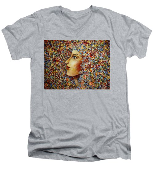 Men's V-Neck T-Shirt featuring the painting Flower Goddess. by Natalie Holland