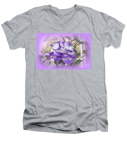 Men's V-Neck T-Shirt featuring the photograph Flower In A Haze by Linda Prewer