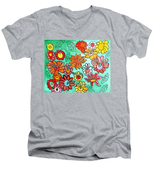 Flower Power Men's V-Neck T-Shirt by Artists With Autism Inc